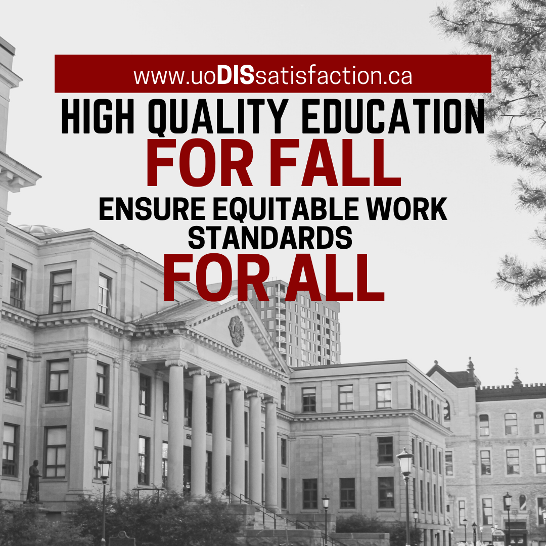 High quality education for Fall - ensure equitable work standards for all.